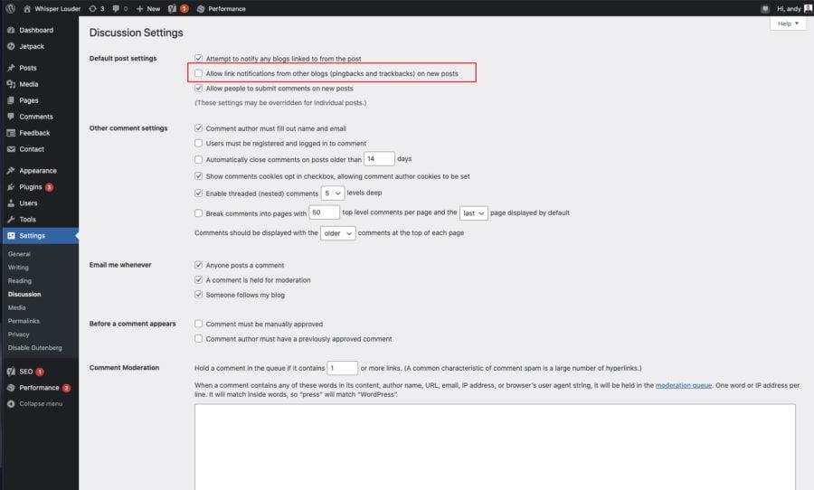 Wordpress optimisation trackbacks