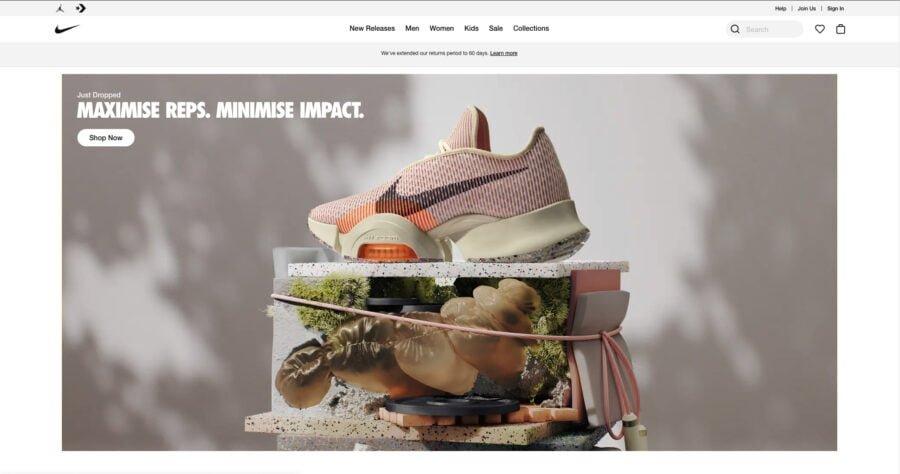 nike website design