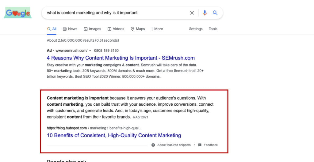 Featured snippet result in google search seo